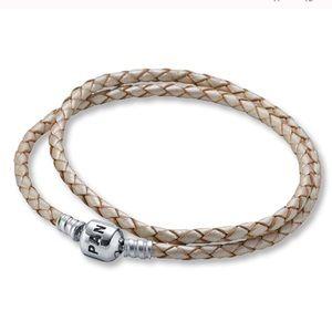 Pandora Double Wrap Champagne Leather Bracelet